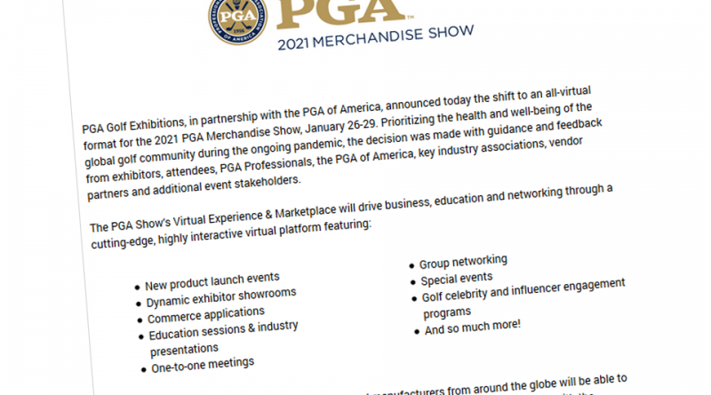 Important Announcement Regarding The 2021 PGA Merchandise Show